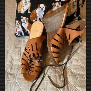 Cole Haan 7.5B Camel Leather Strappy Wedge Sandals
